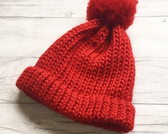 Red hat, bobble hat, winter hat, hand knitted hat, pompom hat, red knitted hat, woolly hat, knit beanie cap, knit accessories, christmas Uk
