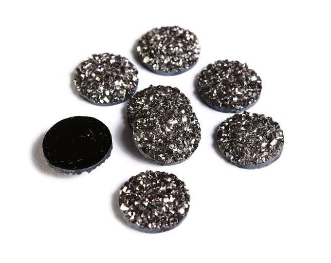 12mm Silver black round resin cabochon - Faux druzy cabochon - Faux drusy cabochon - Textured cabochon (1515) - Flat rate shipping