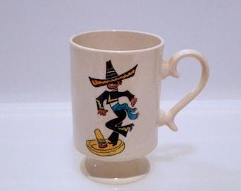 Mexico Sombrero Hat Dancer Vintage Coffee Mug Drinking Glass Mexican Souvenir Hot Tea Cup Stylish Handle Cartoon 1974 Traditional Dance