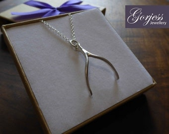 Silver Wishbone Pendant Necklace, Satin