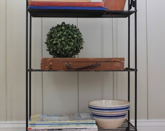Vintage 3 Tiered Metal Shelf Stand // Metal Book Shelf // Record Stand // Metal Storage Shelves