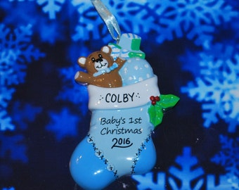 Personalized Baby's First Christmas Stocking Ornament (Boy)
