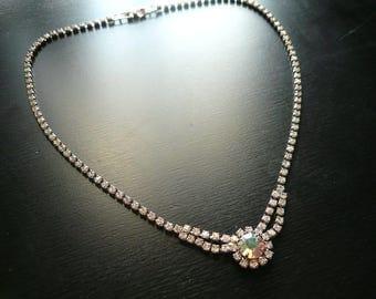 Vintage Rhinestone Choker Necklace - Aurora Borealis Crystal Necklace - Weddings, Retro, Art Deco, 1950's, Vintage Wedding, Bridal Jewelry