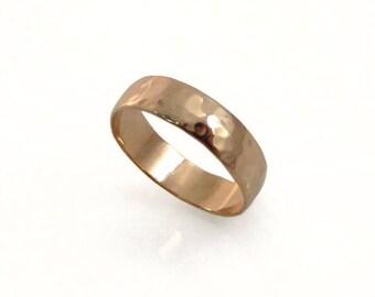 Rose gold wedding ring. 14k rose gold 5mm wedding band , matte wedding ring, classic wedding ring, men women wedding ring (gr-9377-663)