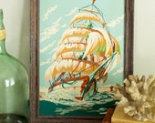 Vintage Paint by Numbers Framed Ship Painting, Nautical, Ocean, Beach