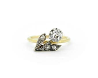 The Diamond Posie Ring- 18ct Gold Antique Diamond Flower Ring 0.71ct