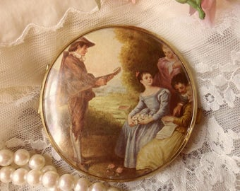 Double Mirror Compact, French Renaissance Mirror Compact from W. Germany