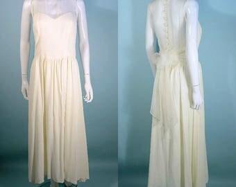 Vintage 90s Cream Dress Sweetheart Bodice, Spring Summer Party Prom Dress, Sleeveless Wedding Attire Maxi, Tie Sash at Back SZ 10 or M