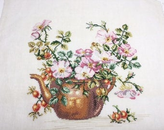 Finished completed Cross stitch - Eva Rosenstand - Copperpot with roses (12-278 ) counted cross stitch
