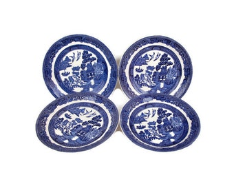 Vintage Johnson Bros Blue Willow Saucers Made in England Set of 4 Blue and White China