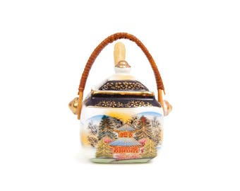 Vintage Jam Jar Lidded Preserve Pot Japanese Pagoda Bamboo Handle Wood Spoon Asian Pattern Sugar Bowl Honey Pot Condiment