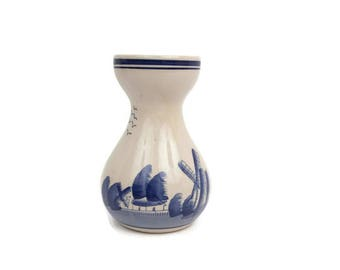 Vintage Delft Blue Windmill and Boats Vase Hand Painted Pottery Cream and Blue Holland Dutch Design Stoneware Tulip Vase