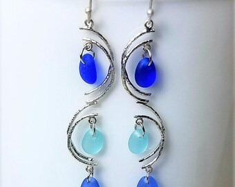 Genuine Beach Sea Glass Earrings - Cobalt  Aqua  Cornflower Dangles