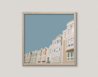 IN BLUER SKIES | Mid century modern photo art print | blue and cream | san francisco architecture print | retro colors home decor | fine art