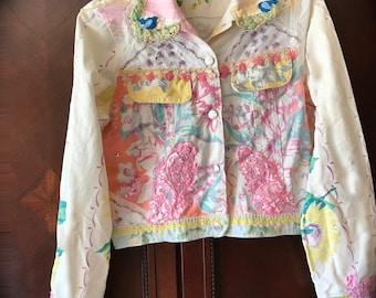 Izzy Roo Vintage 50s Collage Jacket  Sweet Vinty Florals and Handkerchiefs Rockabilly OOAK
