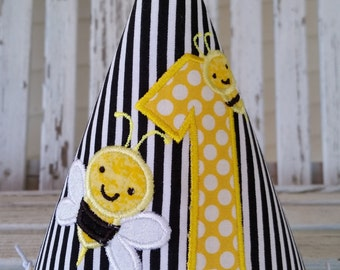 Bumble Bee Birthday Hat - My 1st BeeDay Party Hat - Boy or Girl Party Hat - Bumble Bee Party - Black and yellow - Age 1-9