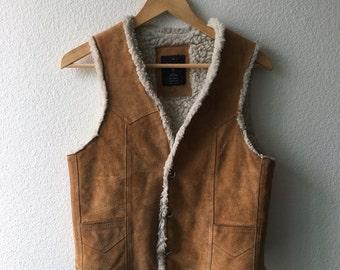 Vintage Suede Leather Vest Sherpa Lined