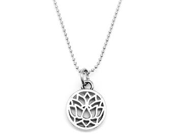 Lotus Flower Necklace - Yoga Jewelry - Yoga Necklace - Lotus Flower Charm -  Hypoallergenic - Stainless Steel Chain -  Fitness Jewelry