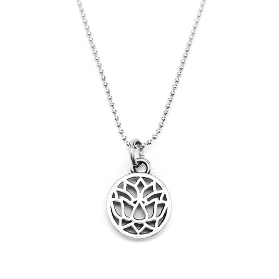 Lotus Flower Necklace - Yoga Jewelry - Yoga Necklace - Lotus Flower Charm -  Hypoallergenic - Stainless Steel Chain Valentines Gift Idea