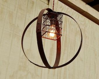 Barrel Ring Light w/ Vintage Bulb Cage Pendant LIght Industrial Light Vintage & Cage pendant light | Etsy azcodes.com