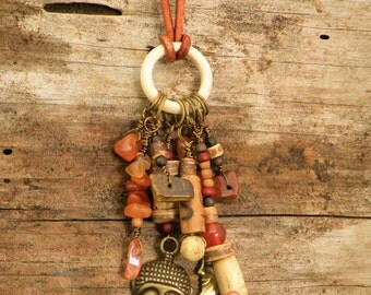 Buddha Charm Necklace Jewelry Natural Wood Beads Carnelian Leather Boho Chic Gypsy Hippie Bohemian Antique Vintage Earthy Nature Spiritual