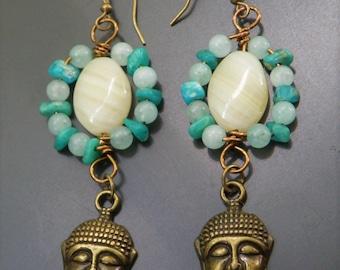 Buddha Amazonite Earrings Jewelry - Dangly Stone Charm Earrings Antique Bronze - Jade Spiritual Hindu Indian Yoga Bohemian Hippie Boho Gypsy