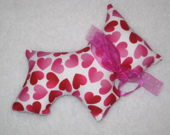 HEART Scottie Dog Plush - Scottie with Hearts  - Dog Lover Gift - READY to SHIP