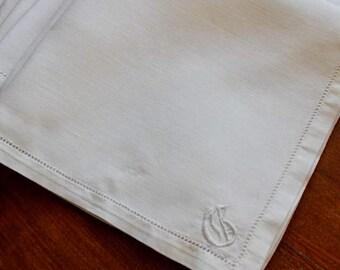 Vintage Linen Napkins Monogram G White Dinner Cloth 8 Plus Hemstitch