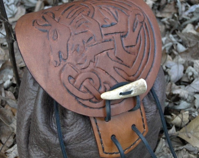 Celtic Stag Leather Sporran, Medieval Pouch, Renaissance Belt Bag, Tooled - Deluxe