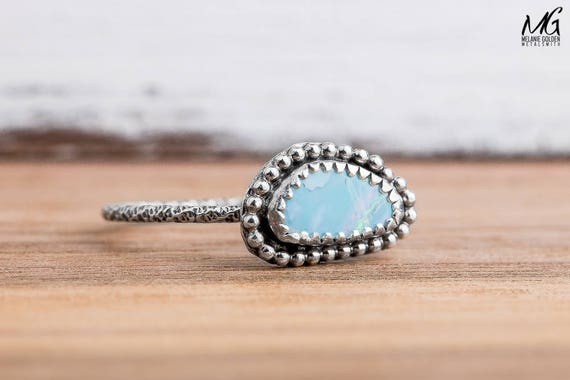 Boulder Opal Ring in Sterling Silver - Size 8
