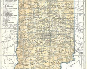 1939 Indiana Vintage Atlas Map