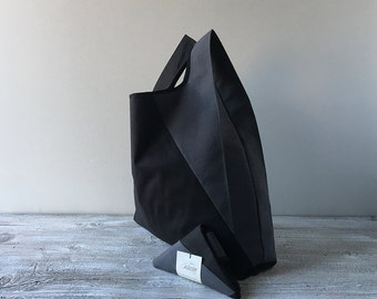 geometric men lunch bag with minimalist black and gray cotton / cotton tote bag for men and for woman / unisex and capaciuos grocery bag