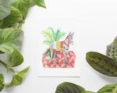 Donkey 5x7 Art Print - Boho Party Animal Giclée Print