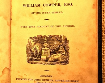 """1818 vintage edition of """"Cowper's Poems, Poems by the late William Cowper, Esq. of The Inner Temple"""""""