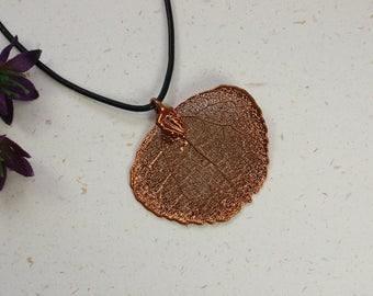 SALE Leaf Necklace, Copper Aspen Leaf, Real Aspen Leaf Necklace, Copper Leaf Pendant, SALE227
