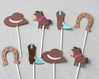 12 Western Cupcake toppers, cowgirl cupcake toppers, cowboy boot cupcake toppers, cowgirl birthday decorations, western birthday decorations