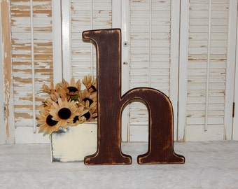 "Distressed Wooden Letter h Wall Decor 14 - 16"" Tall Lowercase Wood Letters"