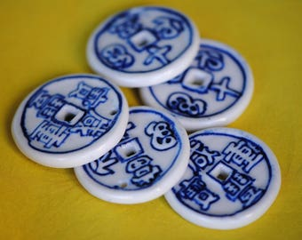 Porcelain Chinese Coin Pendant | 30mm Pendant | Asian Coin Pendant | Chinese Coin Beads | Blue White Porcelain | Ceramic Donut Beads