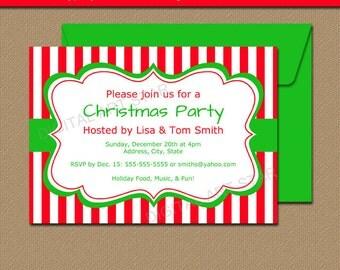 Printable Christmas Party Invitation - EDITABLE Xmas Invites, Holiday Party Invites - Red & White Stripes - Holiday Invitation Template CSV