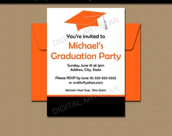 Graduation Party Invitation Template, High School Graduation Invitation, EDITABLE PDF Class of 2017 Grad Party Invite, Digital Invitation G1