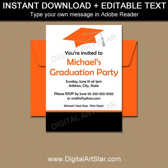 Graduation Party Invitation Template, High School Graduation ...
