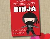 Ninja Valentine. Boy School Valentine. Instant Download