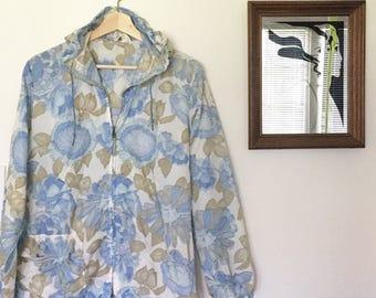 Vintage 60s Sheer Floral Windbreaker - Hooded jacket - lightweight - zips up -  Small or Medium