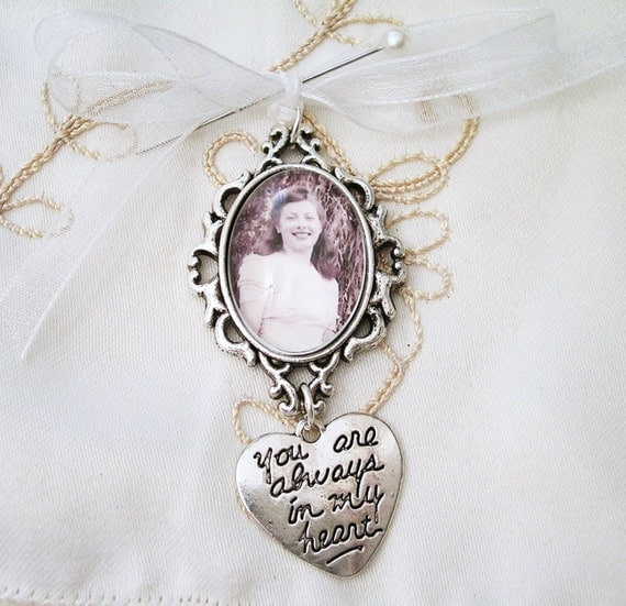 bridal bouquet photo memory charm you are always in my heart wedding