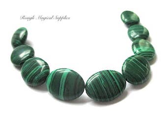 Malachite Beads, 16mm x 12mm Ovals, Cultured Stones, Green & Black Man Made Gemstones, Elliptical Beads, Striated Stones - 9 Pieces  SP537