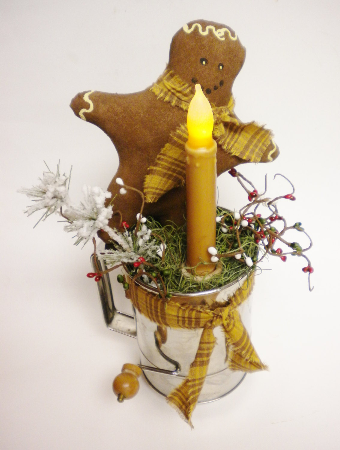 Gingerbread man candle lamp christmas decorations primitive for 7 candle christmas decoration