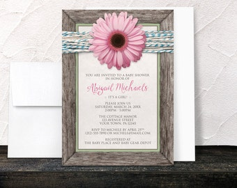 Pink Daisy Baby Shower Invitations - Girl Rustic Chic Floral Southern Country Wood Frame Turquoise Twine - Printed Invitations
