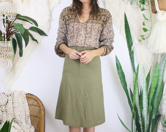 Khaki green 70s Pencil skirt, Small 3828