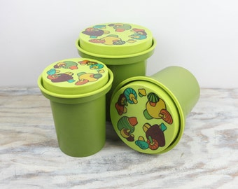 Vintage Mushroom Canisters, Stackable Storage, 1970s Avocado / Chartreuse Green, Orange, Aqua, Brown and Gold  (set of 3)
