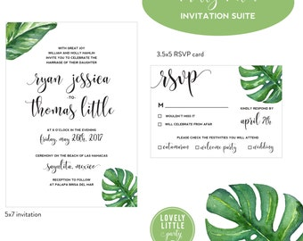 Pretty Palm Collection Wedding Invitation and RSVP design - DIY Printable or Printed Option - Lovely Little Party -